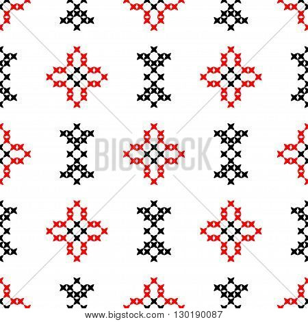 Seamless texture with red and black abstract patterns for cloth.Embroidery.Cross stitch.