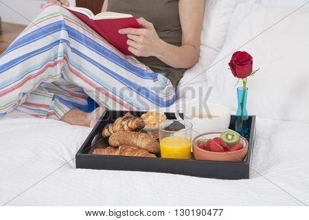 Breakfast Tray Woman Reading Horizontal