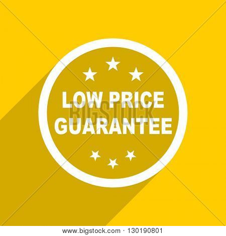 yellow flat design low price guarantee web modern icon for mobile app and internet