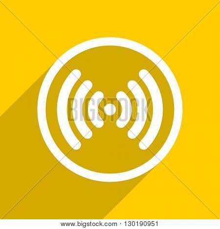 yellow flat design wifi web modern icon for mobile app and internet