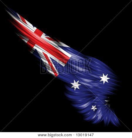 Abstract Wing With Australian Flag On Black Background