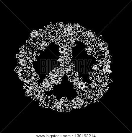 Vintage flower peace symbol (black and white)