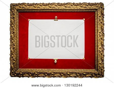 photo of an old golden retro frame, with red velvet and white paper attached, isolated on white