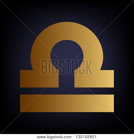 Libra sign. Golden style icon on dark blue background.