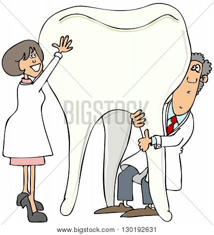 Illustration of a male and female dentist holding up a giant molar.