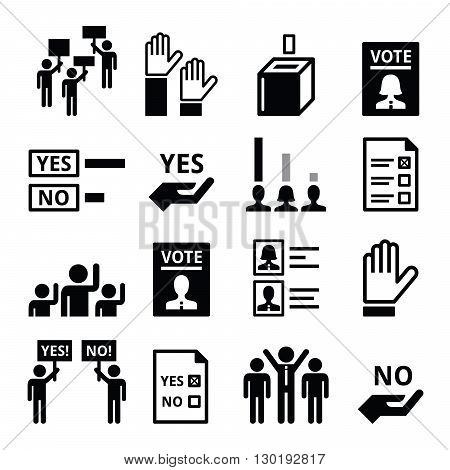 Democracy, voting, politics vector black icon set