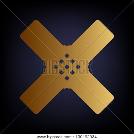 Aid sticker sign. Golden style icon on dark blue background.