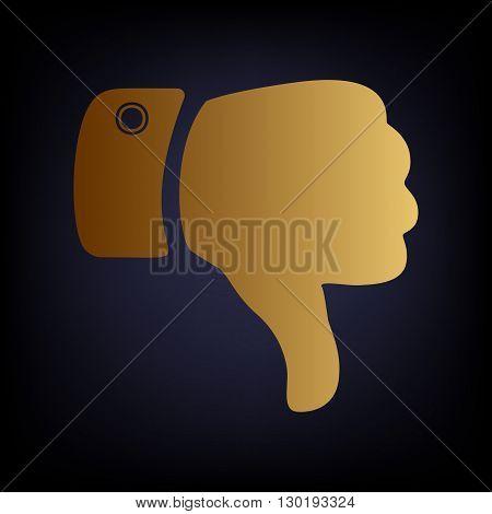 Hand sign. Golden style icon on dark blue background.