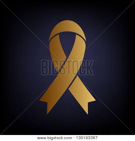 Black awareness ribbon sign. Golden style icon on dark blue background.