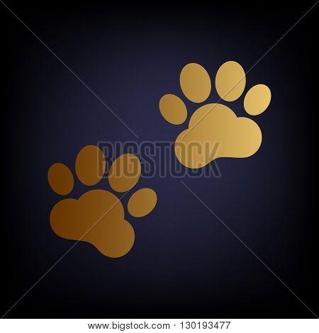 Animal Tracks sign. Golden style icon on dark blue background.