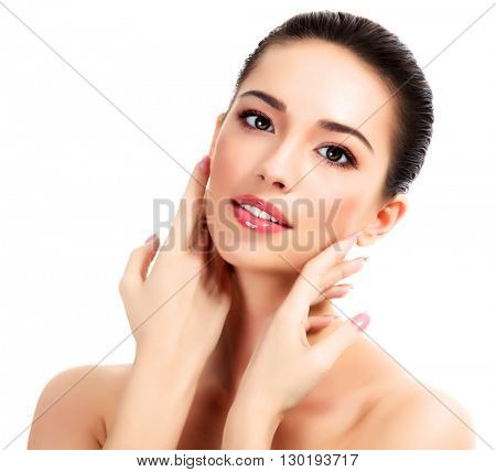 Pretty woman portrait, isolated on a white background
