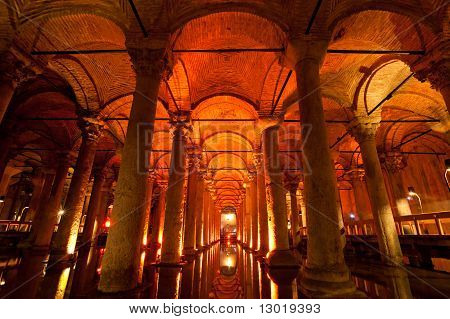 Underground Basilica Cistern, Istanbul, Turkey.