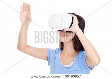 Woman experience though VR device