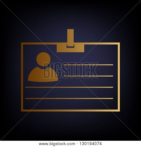 Id card sign. Golden style icon on dark blue background.