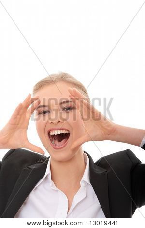 Young business woman shouting, isolated on white background