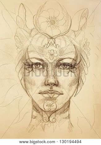 mystic woman face with floral ornament. Drawing on paper, Color effect. Eye contact