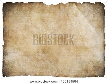 old pirates' treasure map isolated with clipping path