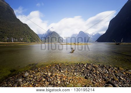 Long exposure shot during sunny day, Milford Sound.