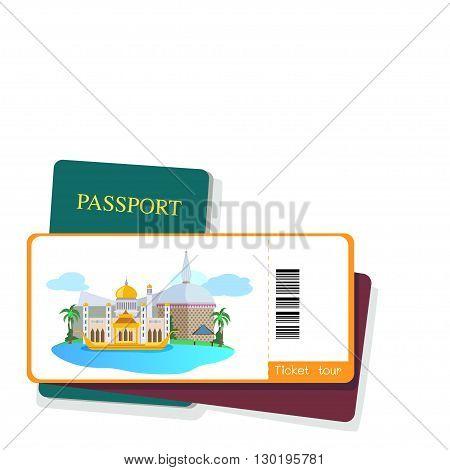 Passport and brunei tourist ticket on white background.