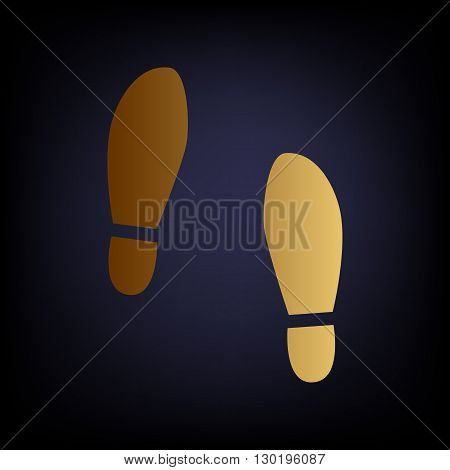Imprint soles shoes sign. Golden style icon on dark blue background.