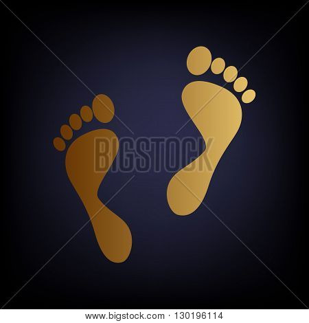 Foot prints sign. Golden style icon on dark blue background.