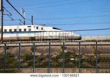 Nagoya JAPAN - May 02, 2016 : A Shinkansen bullet train in Japan on May 02, 2016 in Nagoya Japan.
