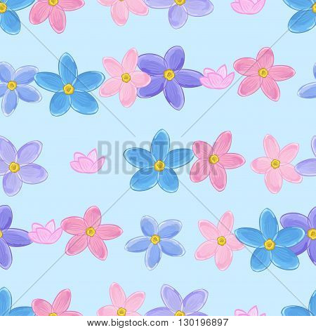 Floral seamless pattern with forget-me-not. Forget me not flowers. Digital paper