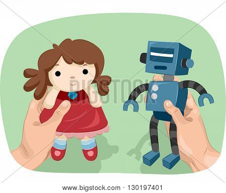 Illustration of a Man Showing a Robot in One Hand and a Doll in the Other