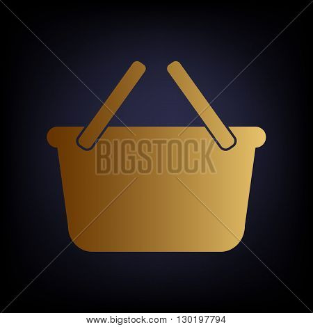 Shopping basket sign. Golden style icon on dark blue background.