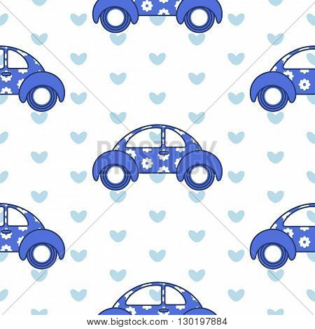 Car cute baby vector seamless pattern. Kid fabric and apparel design. Fun blue car with flower pattern and hearts on back.