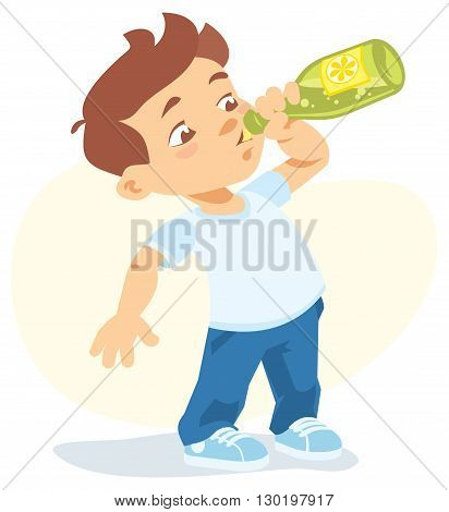 Vector illustration of boy drinking soft drink