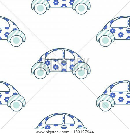 White and blue fun floral car for shirt and apparel pattern design. Summer light seamless fashion design for swimwear.