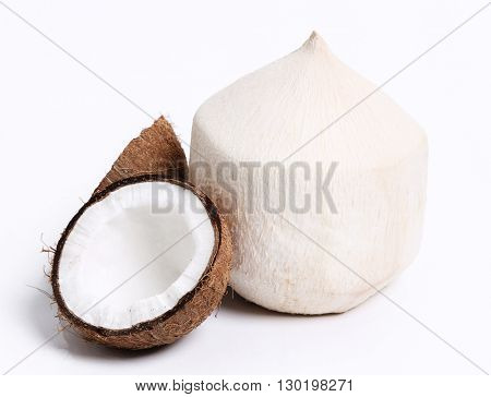 Food. Peeled coconut on a white background