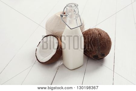 Drink. Delicious coconut milk on the table