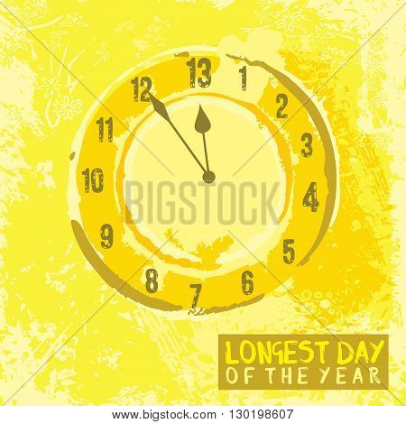 A poster design with a clock for summer solstice day in June on a yellow background