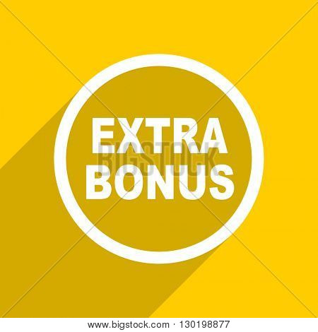 yellow flat design extra bonus web modern icon for mobile app and internet