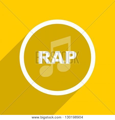 yellow flat design rap music web modern icon for mobile app and internet