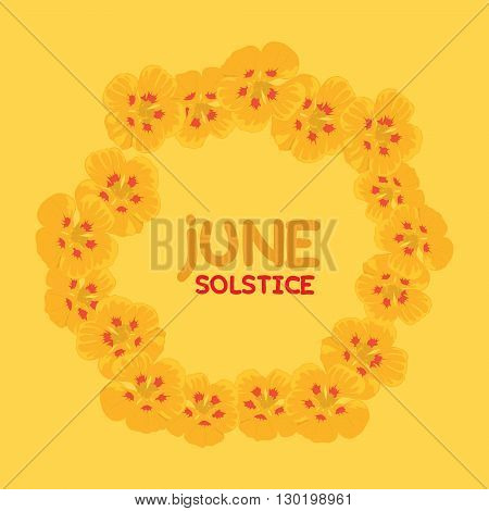 An floral illustration for summer solstice day in June on a yellow background