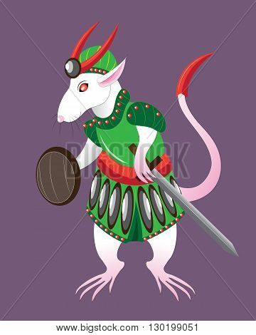 White rat the soldier in armor and with a sword