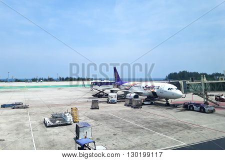 PHUKET THAILAND - May 3: Thai smile airway at Phuket International Airport on May 3 2016. Thai smile airway plane is the low-cost airline in Thailand.