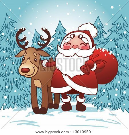 Santa Claus with bag full of Christmas gifts and reindeer in the snow. Happy New Year card. Vector illustration.