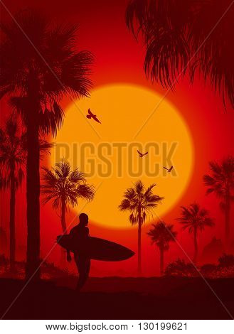 Silhouette of the man with a surfboard at sunset