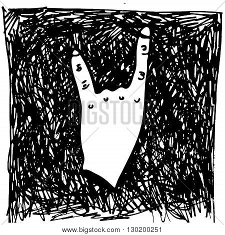Hand drawn vector ilustration rock-n-roll hand gesture