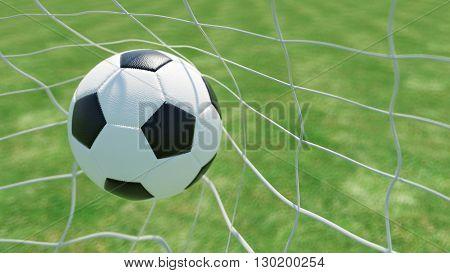 Classic soccer ball in goal net on a green field (3D Rendering)