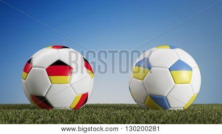 Germany vs. Ukraine in soccer match during european championships (3D Rendering)