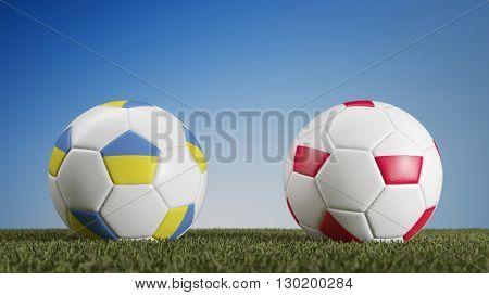 Ukraine vs. Poland in soccer match during european championships (3D Rendering)