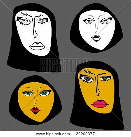 Two arabian women faces. Black and white and color variants.
