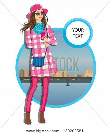 Beautiful young  women in a hat in a casual clothes on city background Vector hand drawn  illustration.