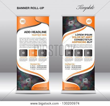 Roll up banner stand template stand design banner template Blue banner advertisement flyer template presentation