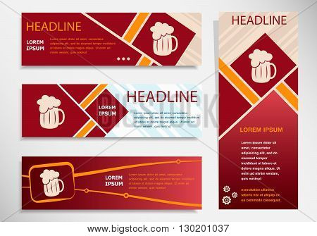 Beer Mug Icon On Vector Website Headers, Business Success Concept